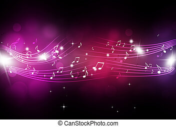 Music Notes with Blurry Lights - abstract music notes and...