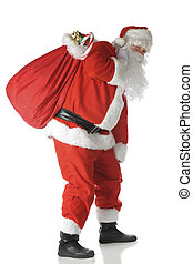 Hauling a Heavy Load - Santa Clause carrying a sack heavy...