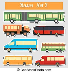 Public transportation, buses. Icon set. Vector illustration