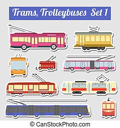 Set elements trams and trolleybus - Set of elements trams...