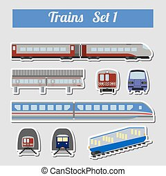 Train icon set Subway, monorail, funicular transport Vector...