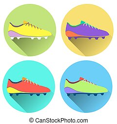 Vector illustration of soccer shoes, american football boots...