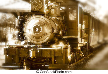 Steam engine - Historic steam engine and train in sepia