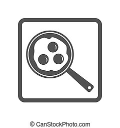 Vector illustration of scrambled eggs in skillet icon on...
