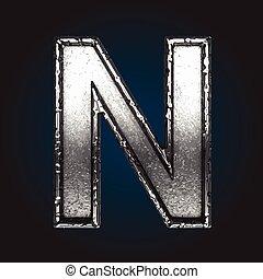 n vector metal letter