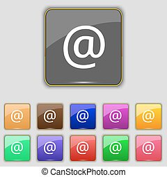 E-Mail icon sign. Set with eleven colored buttons for your site. Vector