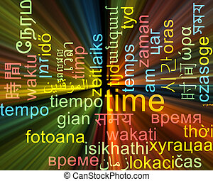 Time multilanguage wordcloud background concept glowing
