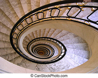 Spiral Staircase - Looking down several floors through the...