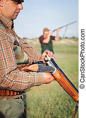 cazador, carga, escopeta,