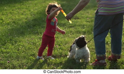 Little curly girl walking with her dog and blow bubbles