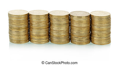 Coins stacks - Five coins stacks isolated on white...