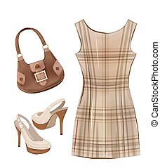 Fashion items for girls. Casual dress, shoes and handbag.