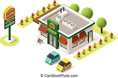 Vector isometric fast food