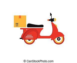 Red retro vintage delivery motor bike icon isolated on white...