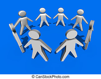Circle of people in 3d on blue background - team work