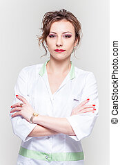 woman in a white coat isolated background