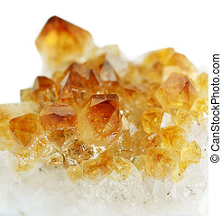 Citrine - Several crystals of citrine gemstone on white...