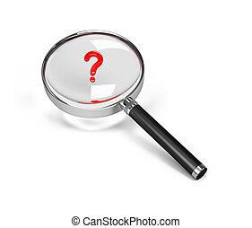 Magnifier and question mark