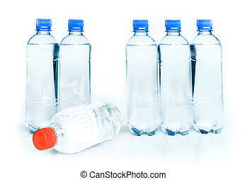 overheated - plastic bottles of potable water