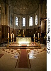 illuminated altar - inside public free access church in...
