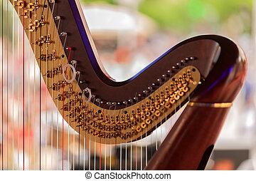 chamado, instrumento, sinfonia, detalhes,  musical, harpa