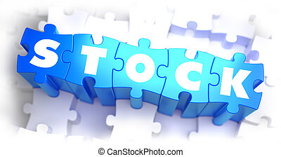 Stock-White Word on Blue Puzzles - Stock - White Word on...