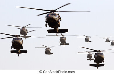 Helicopters - Military helicopter formation