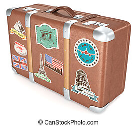 Vintage Suitcase - Leather suitcase with retro travel...