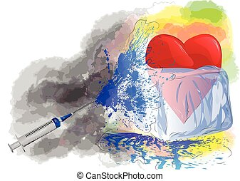 therapy heart in ice on abstract grunge background and...
