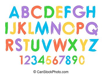 Cheerful colorful vector alphabet typography set. Font with...