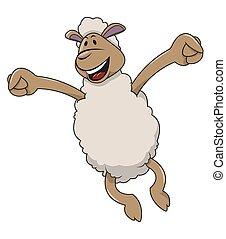 Happy jumping sheep