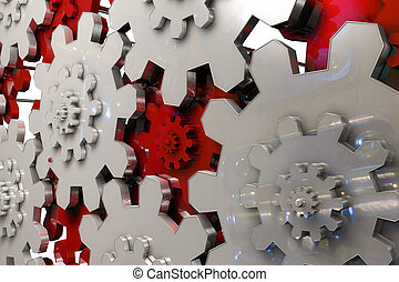 Reflective Gears - 3d rendered illustration