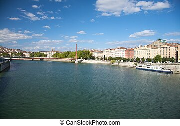 lyon bank of river rhone - rhone river at lyon city in...