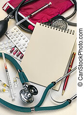 Doctors Desk - Notepad - Space for Text - A doctors...