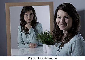 mujer, con, bipolar, personalidad, desorden,