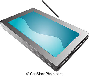 Tablet pc notebook - Tablet PC notebook open with screen, 3d...