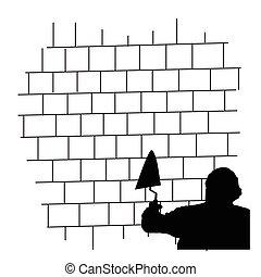 man front the brick wall vector