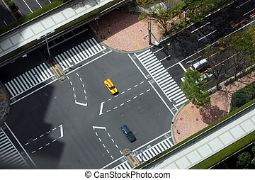 Tokyo Intersection - Aerial view of an intersection in...