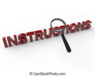 Instructions - 3D Text with magnifier over white background