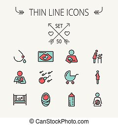 Medicine thin line icon set for web and mobile Set include-...