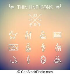 Medicine thin line icon set for web and mobile Set includes-...