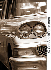 Classic car front end close up view