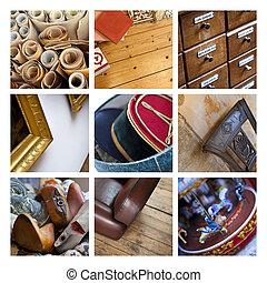Flea market - Close up of material and old objects on a...