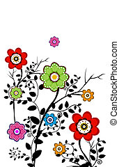 flower - drawing of beautiful flowers with black branch