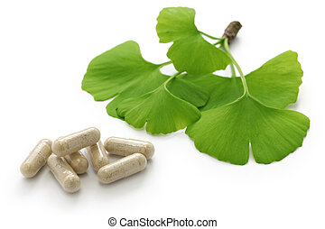 ginkgo biloba leaves and pills - ginkgo biloba leaves and...