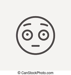 Frightened face thin line icon