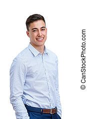 Attractive young man in smart shirt.