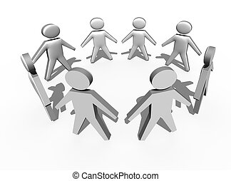Circle of people in 3d on white background