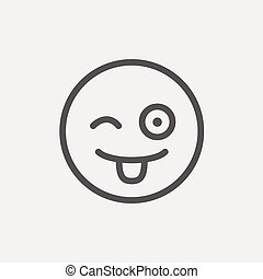 Happy winking emoticon with protruding tongue thin line icon...