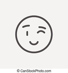 Winking emoticon thin line icon - Winking emoticon icon thin...